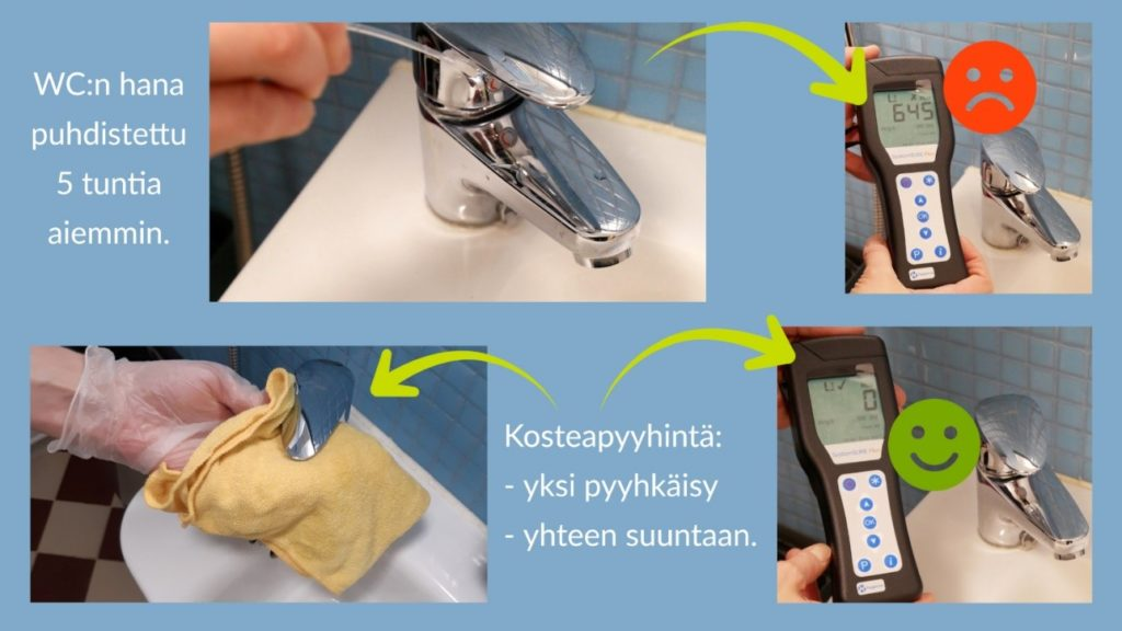 Mittaustuloksen vertailu wc:n hanasta 5 tuntia puhdistuksesta ja suoraan kostean pyyhinnän jälkeen